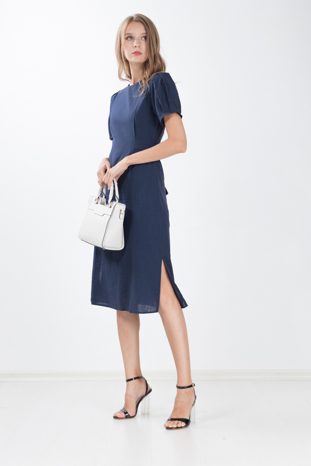 Chae Cotton Linen Midi Dress in Navy Blue