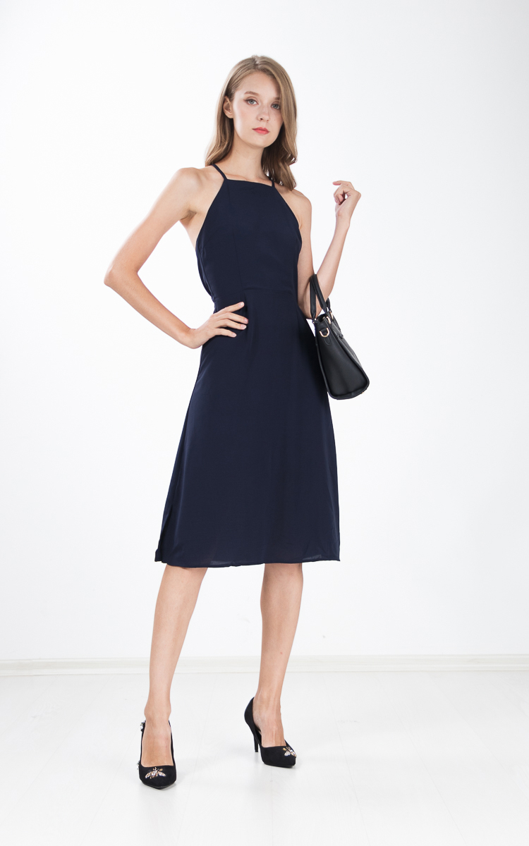 b8baa83e0e3ee7 Margi Halter Dress in Navy Blue | Ninth Collective