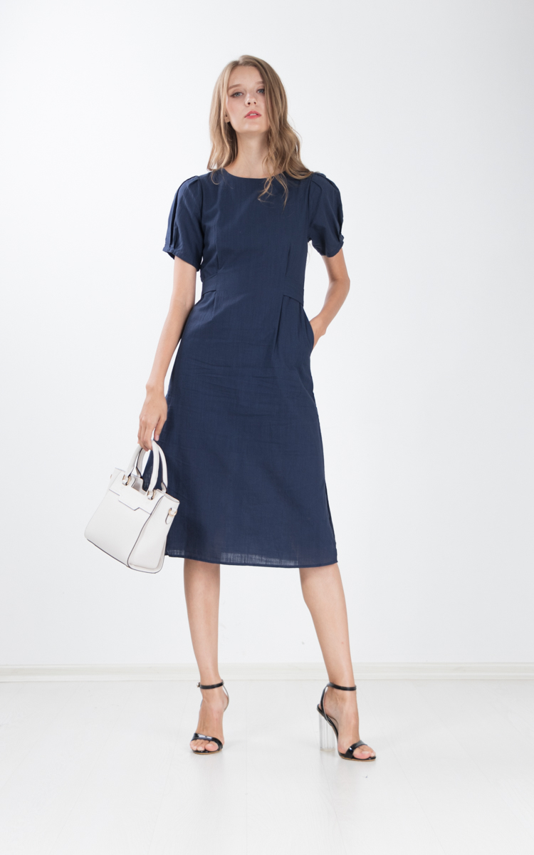 0d9ec7b02e Chae Cotton Linen Midi Dress in Navy Blue | Ninth Collective