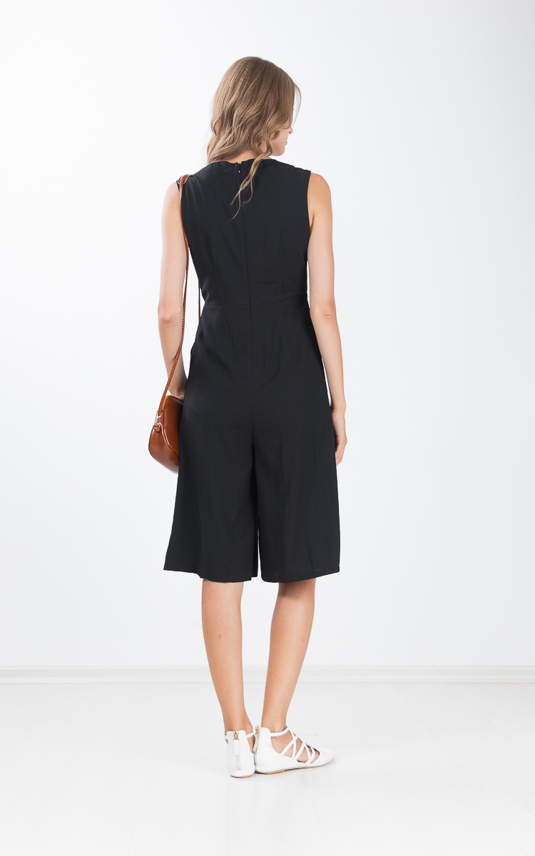 Carmela Wide Leg Jumpsuit in Black
