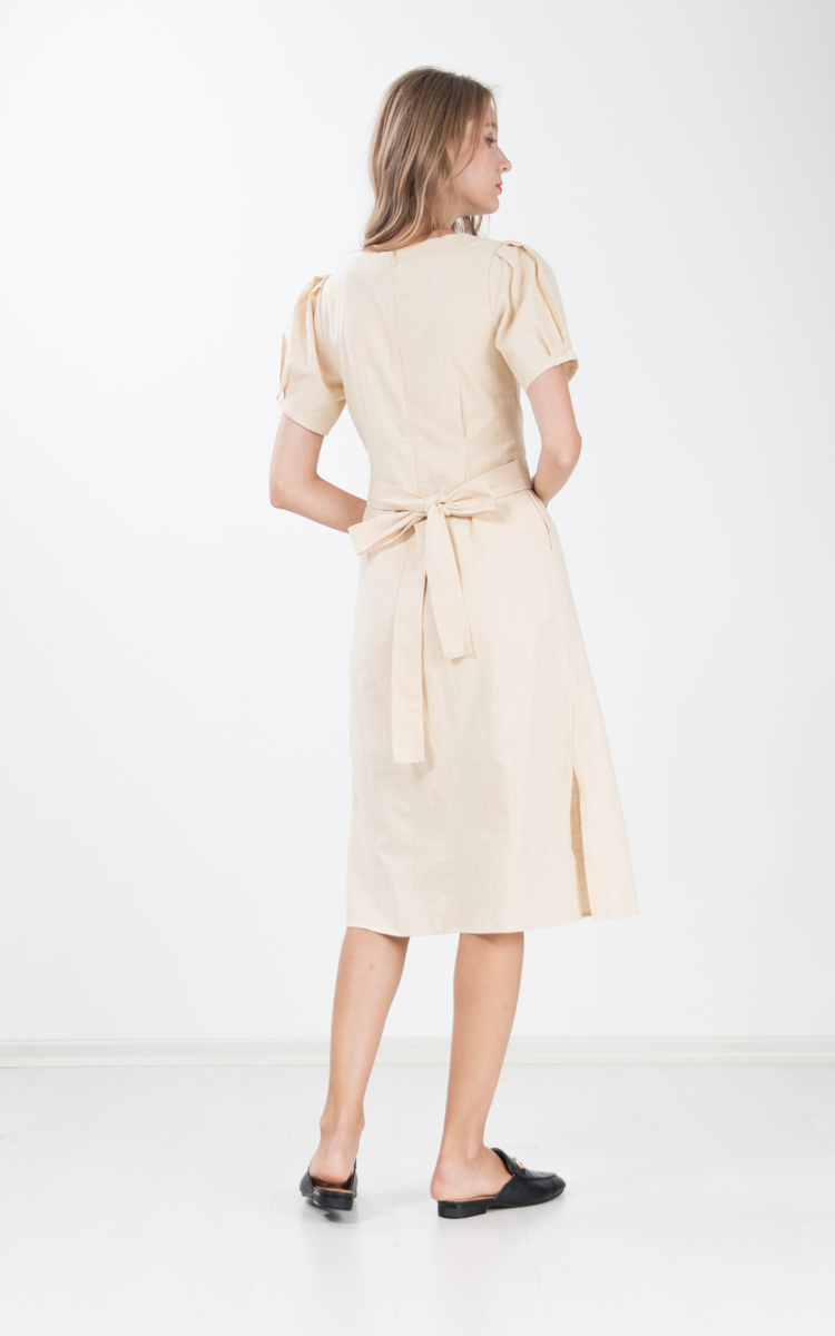 Chae Cotton Linen Midi Dress in Khaki
