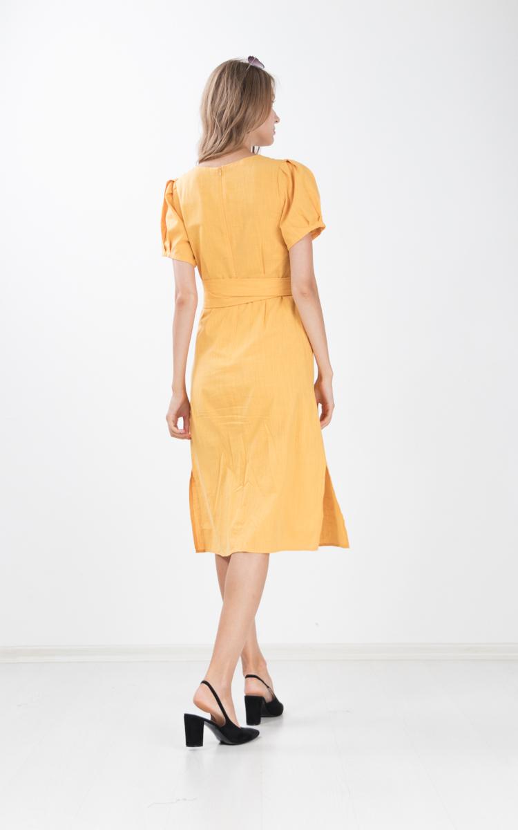 Chae Cotton Linen Midi Dress in Marigold