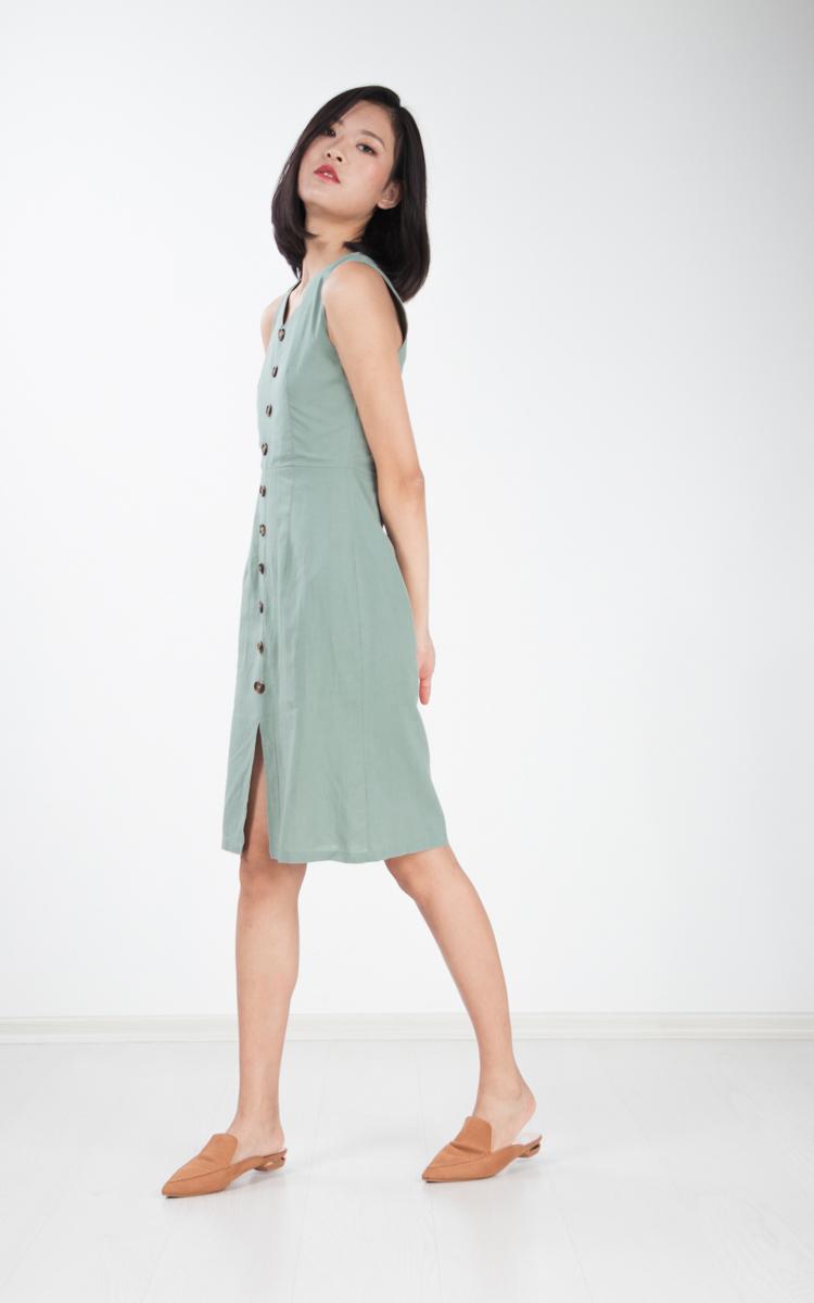 Flavia Button Shift Dress in Sage Green