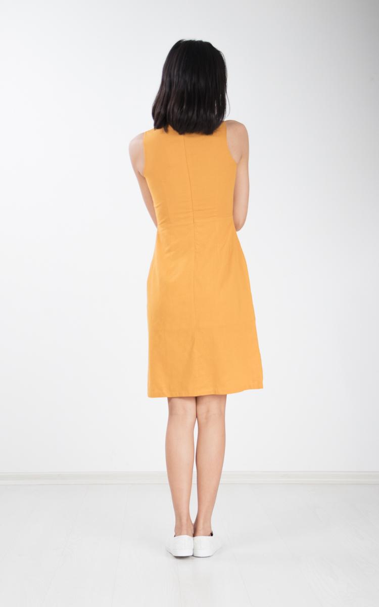 Flavia Button Shift Dress in Mustard