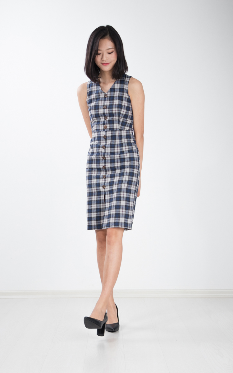 Flavia Button Shift Dress in Plaid