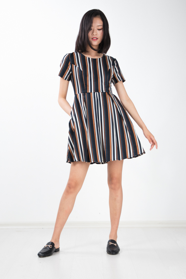 Sitar Stripe Flare Dress in Navy Blue