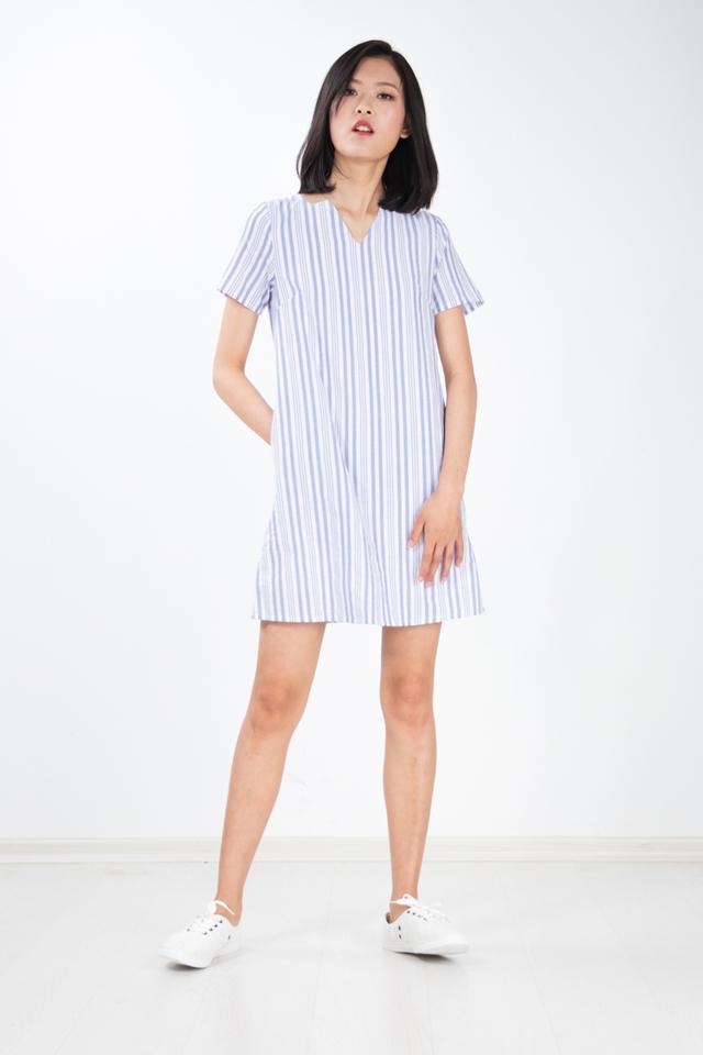 Yurisa Basic Stripe Dress in Blue