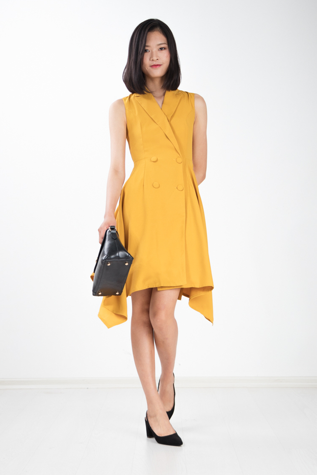 Seraphina Trench Skater Work Dress in Mustard