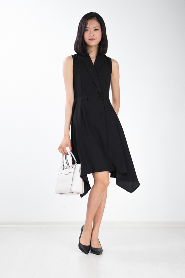 Seraphina Trench Skater Work Dress in Black