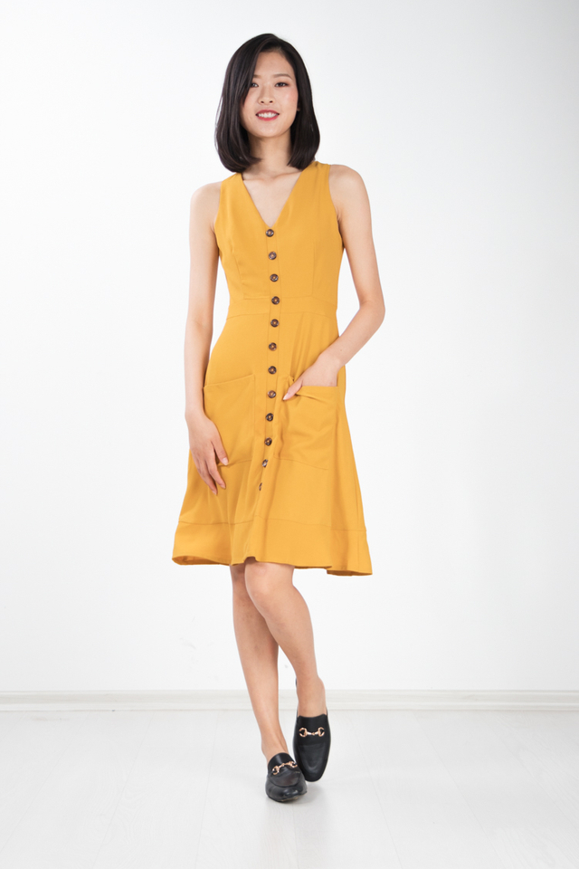 Rebekka Button Dress in Mustard