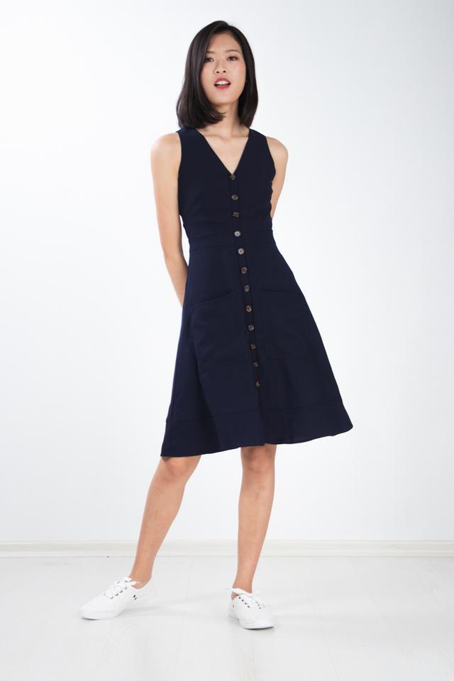 Rebekka Button Dress in Navy