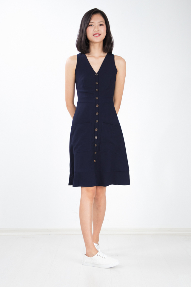 Rebekka Button Dress in Navy