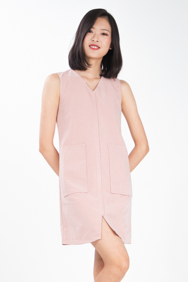 Denki Suede Pocket Dress in Pink