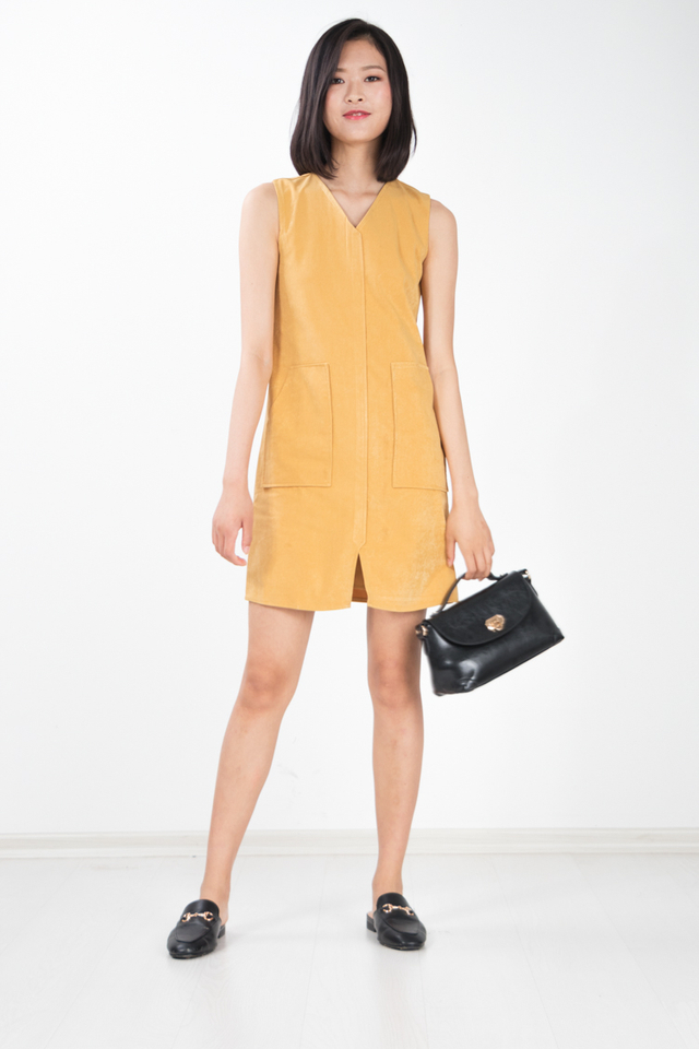 Denki Suede Pocket Dress in Mustard
