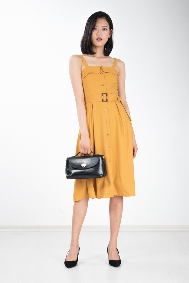 Graciela Belted Midi Dress in Mustard