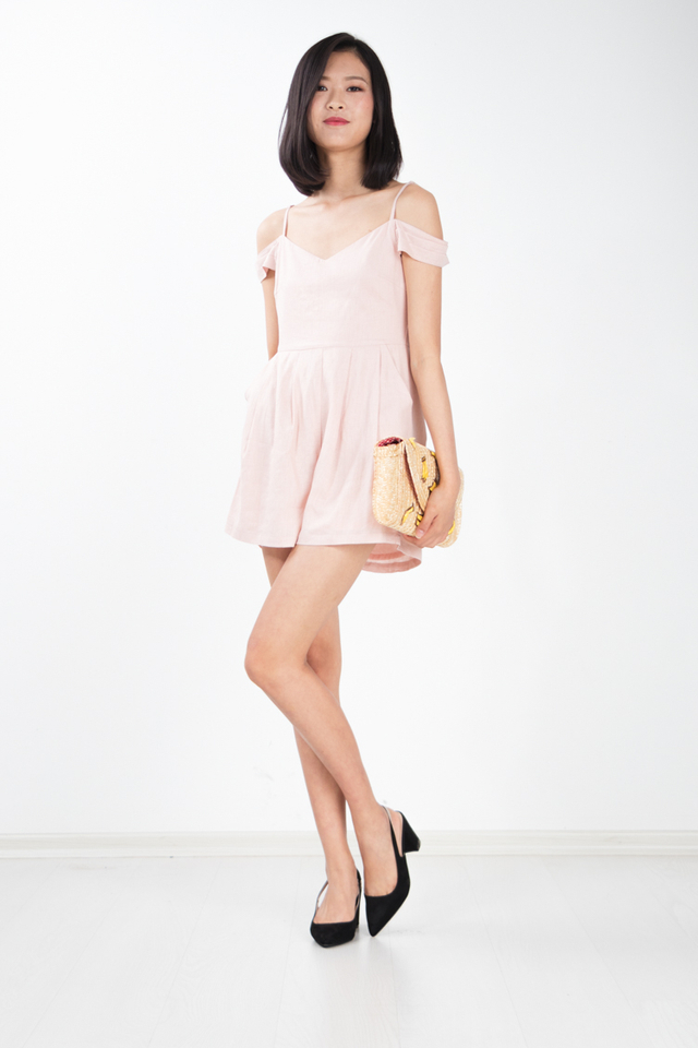 Tyrene Off Shoulder Romper in Pink
