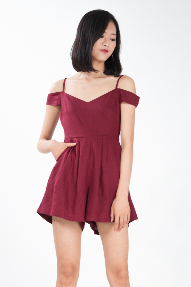Tyrene Off Shoulder Romper in Wine Red