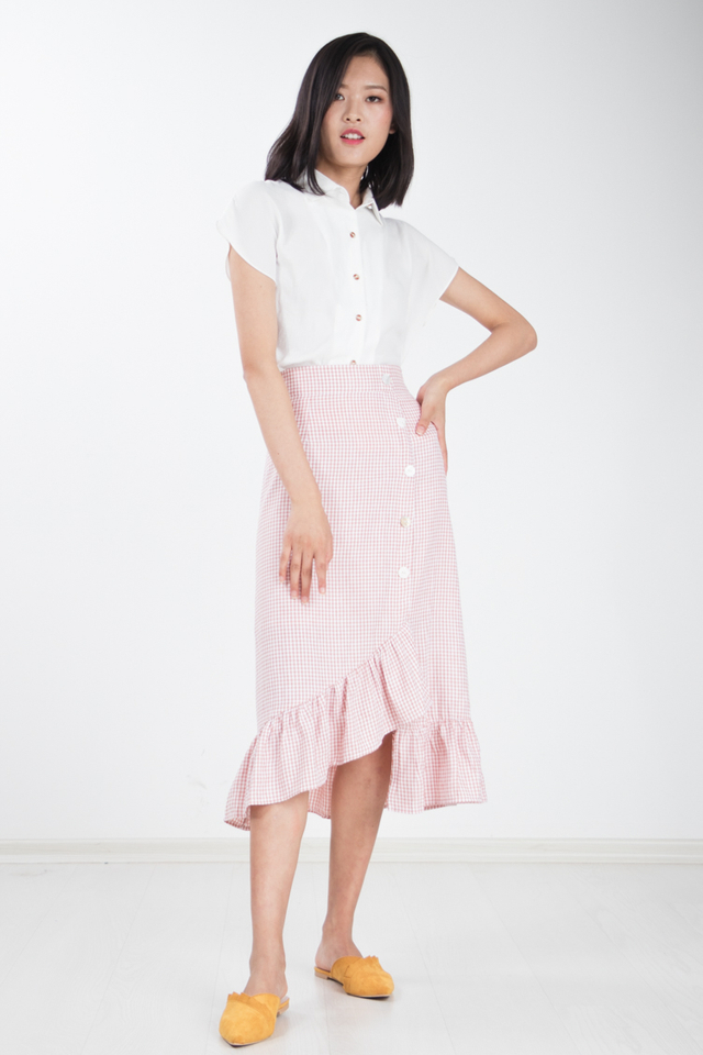Langue Gingham Skirt in Pink