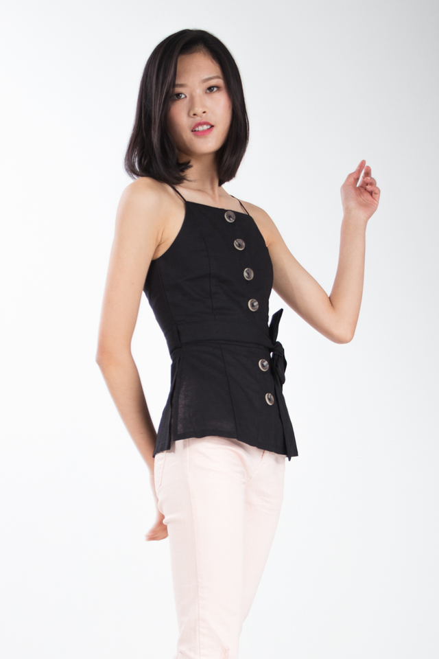 Collette Button Top in Black