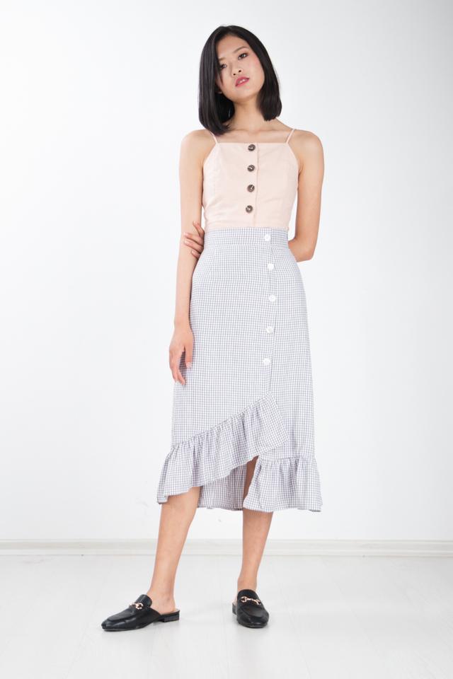 3cfd78012 Langue Gingham Skirt in Grey Langue Gingham Skirt in Grey