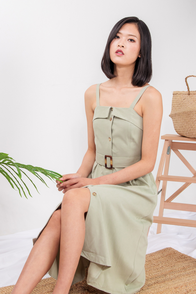 Graciela Belted Midi Dress in Sage Green
