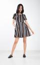 Sitar Stripe Flare Dress in Navy Blue