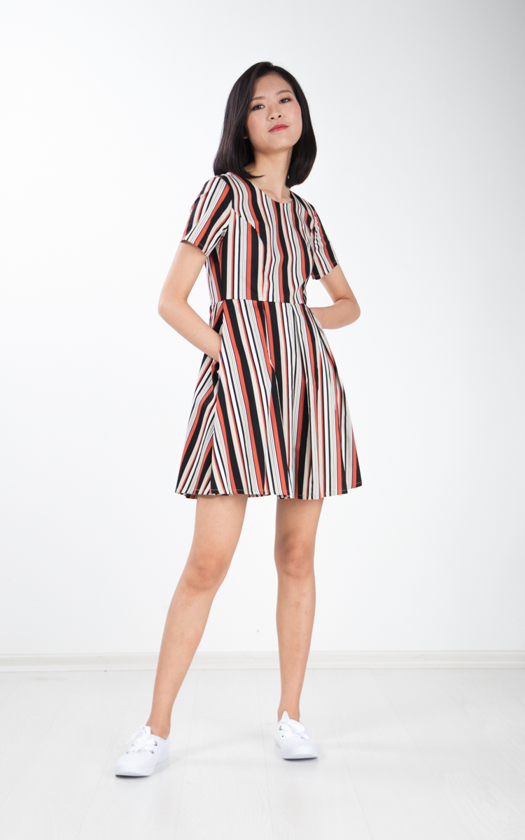 Sitar Stripe Flare Dress in White