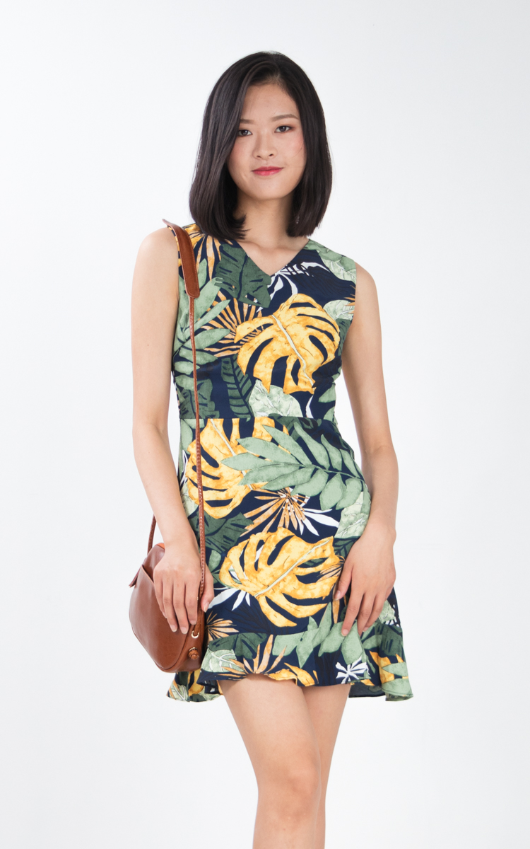 Nira Floral Dress in Navy Blue