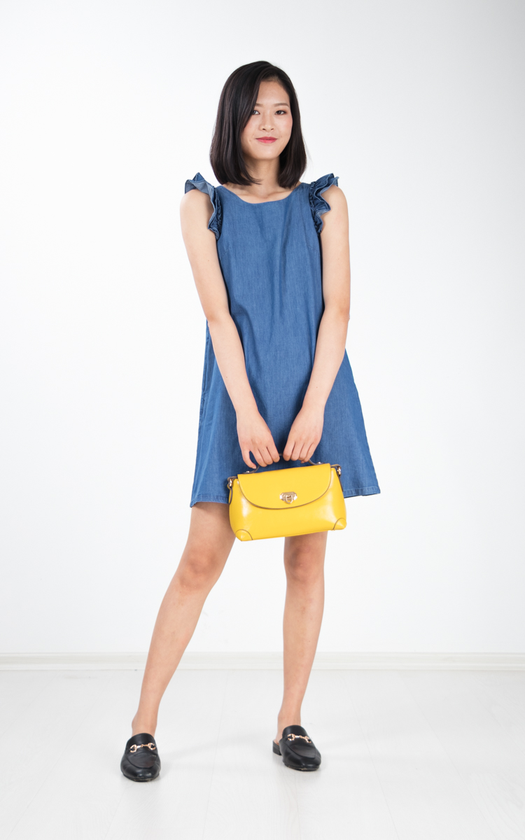 Ponia Ruffle Denim Dress