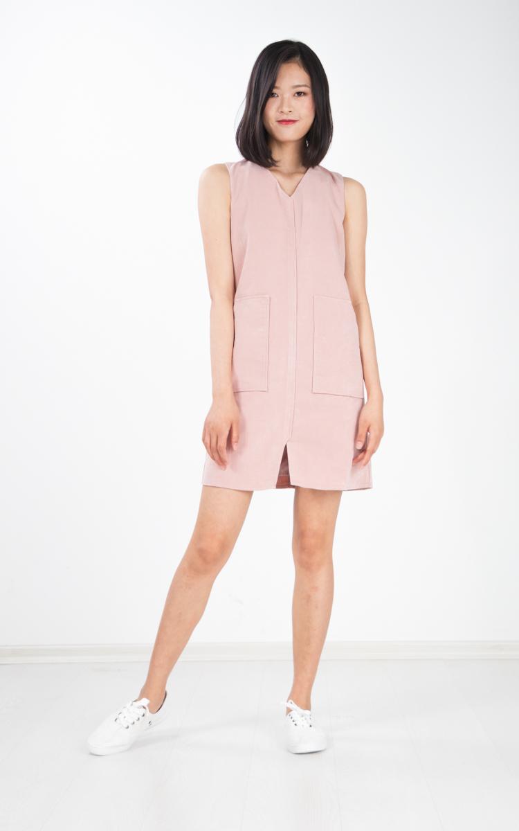 Denki Suede Pocket Dress in Pink