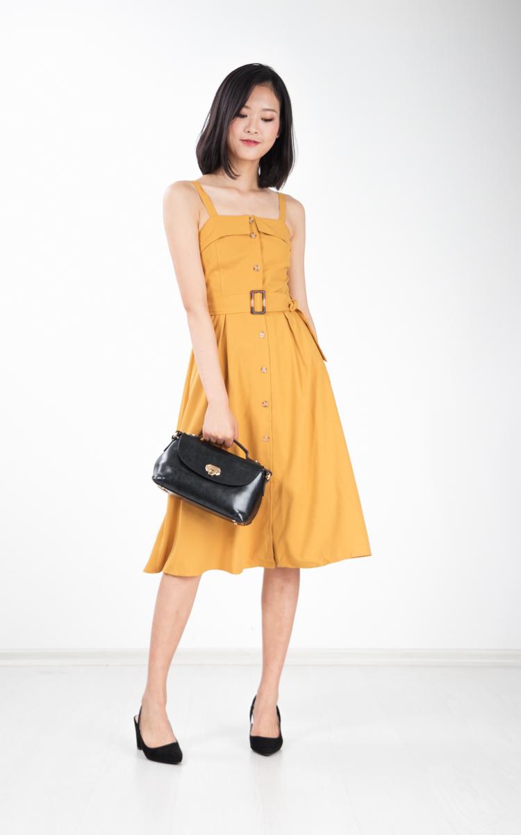Graciela Belted Midi Dress in Mustard