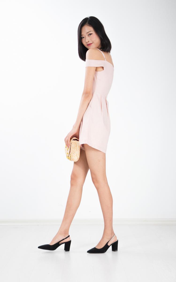 Tyrene Off Shoulder Romper in Pink