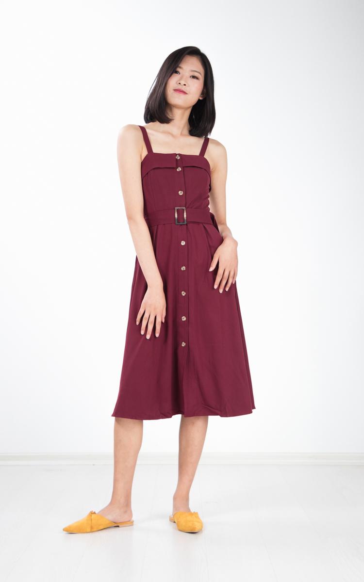 Graciela Belted Midi Dress in Magenta