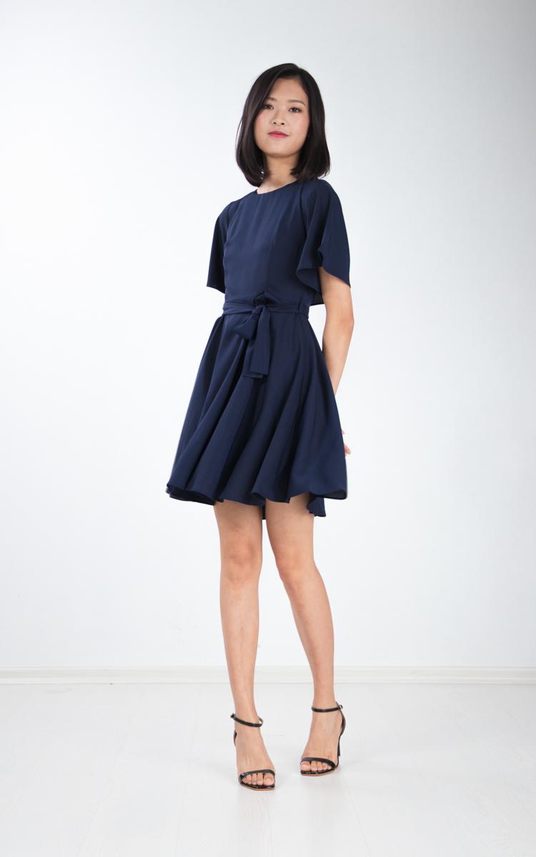 Lenka Cape Skater Dress in Navy Blue
