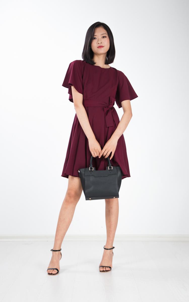 Lenka Cape Skater Dress in Wine Red