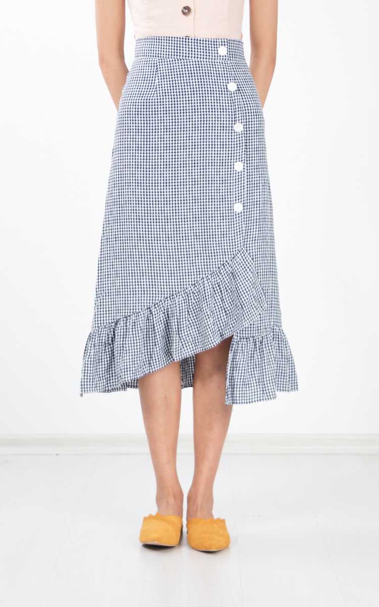 Langue Gingham Skirt in Navy Blue