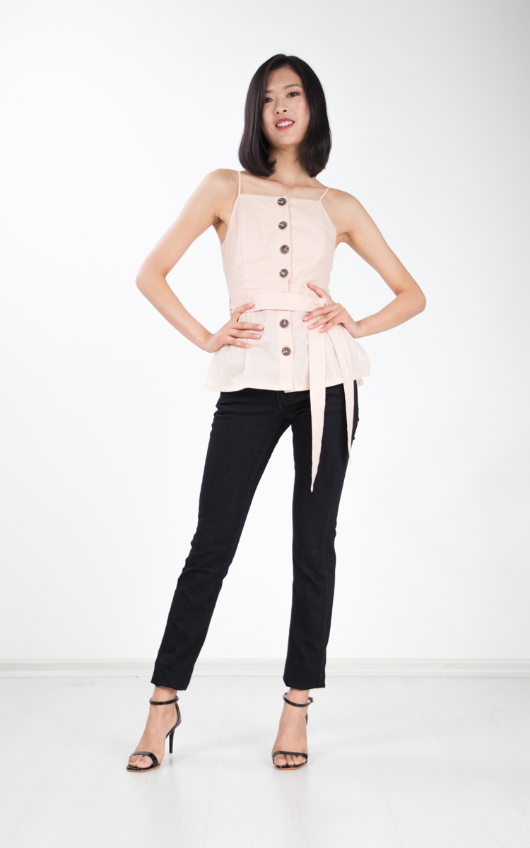 Collette Button Top in Pink