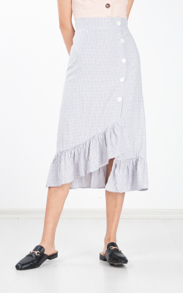 Langue Gingham Skirt in Grey