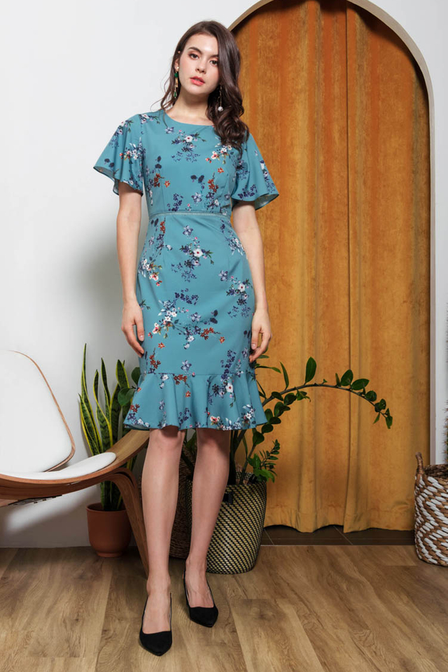 Kailen Floral Dress in Jade Green