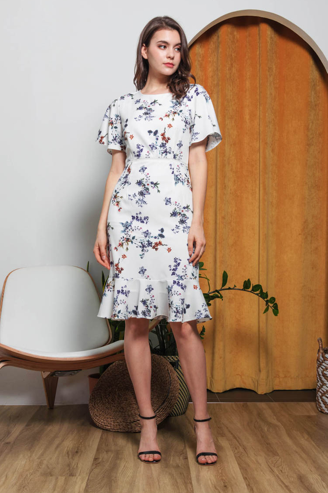 Kailen Floral Dress in White