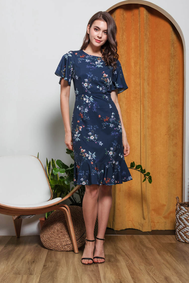 Kailen Floral Dress in Navy Blue