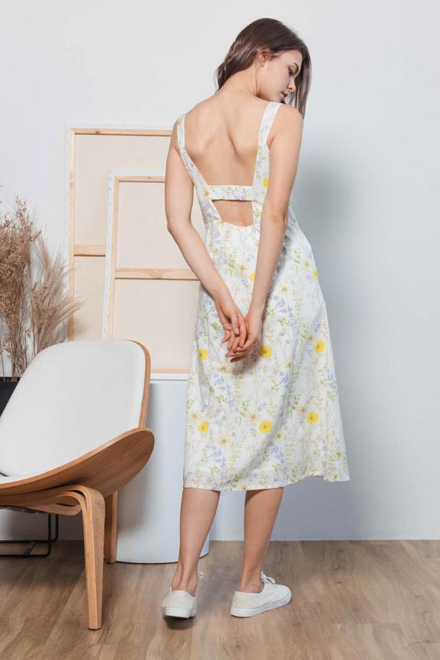 Sufy Floral Midi Dress in White