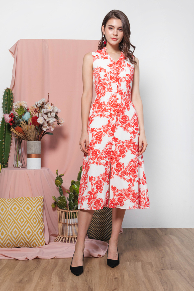Anida Oriental Midi Dress in  Red