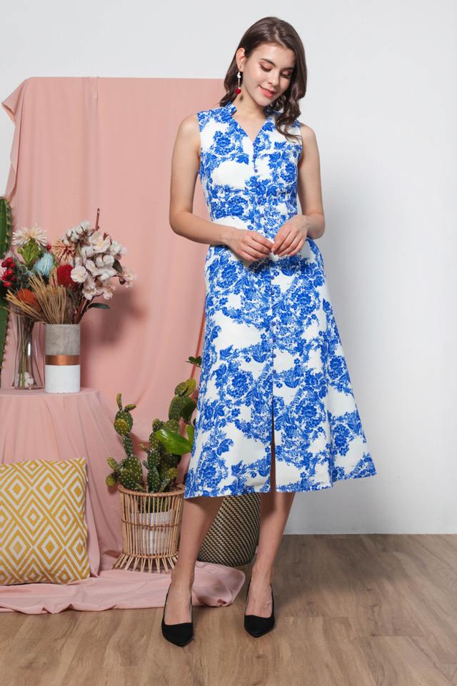 Anida Oriental Midi Dress in  Blue