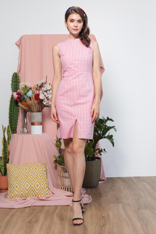 Mayria Gingham Cheongsam in Pink
