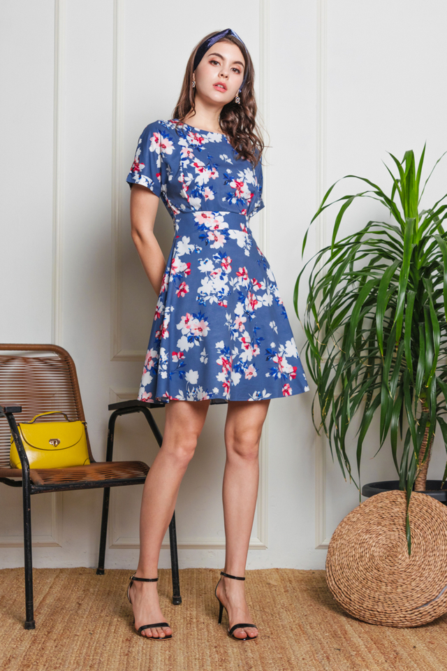 Poppy Floral Dress in Dusty Blue