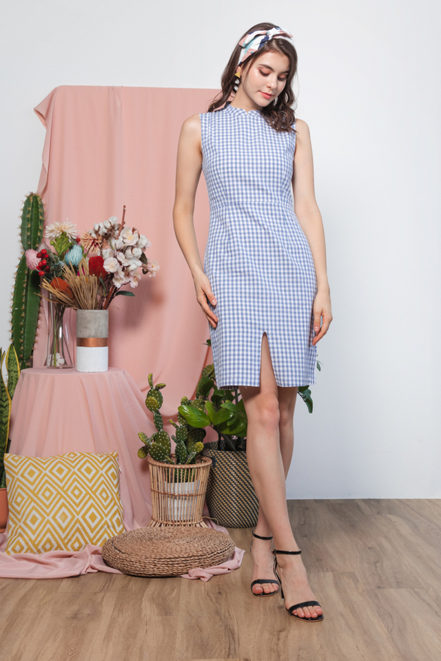 Mayria Gingham Cheongsam in Blue