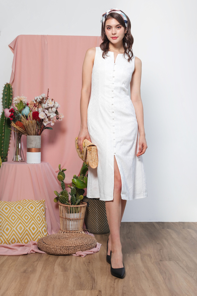 Hanh Emboss Midi Dress in White