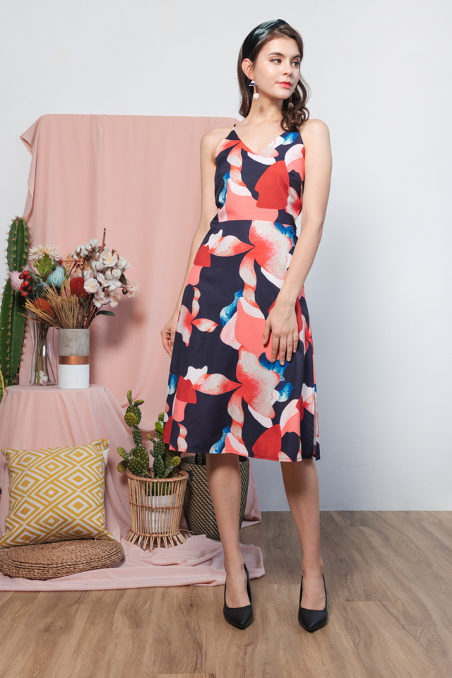 Erena Printed Dress in Navy Blue
