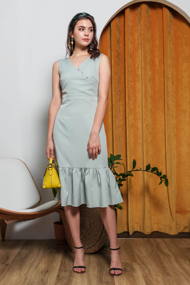 Adiel Button Midi Dress in Sage Green